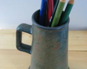 Pottery Tankard, Pencil Pot, Paintbrush Holder - Greenish-Grey