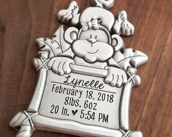Monkey Ornament For New Baby | Christmas Ornament For Baby | Personalized Baby Ornament | New Baby Gift | Baby Stats Ornament | Monkey Gifts