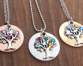 Family Tree Birthstone Necklace For Mom | Mothers Necklaces | Birthstone Necklace | Mothers Day Gift | Gift For Mom | Gift For Grandma