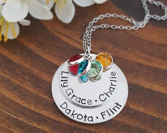 Personalized Mothers Necklace With Kids Names and Birthstones | Mommy Necklace | Necklace For Mom | Gifts For Moms | Mom Necklace | Mom Gift