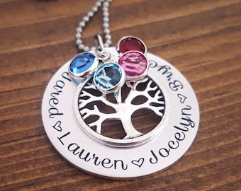 Personalized Family Tree Necklace | Birthstone Necklace | Family Tree Necklace Mom | Grandmother Necklace | Mommy Necklace | Gift For Mom