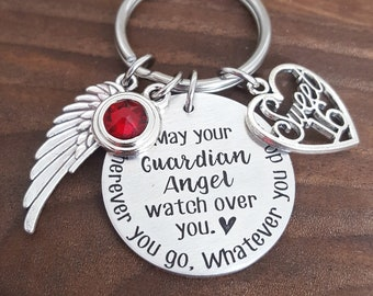 Guardian Angel Sweet 16 Keychain | Sweet 16 Gifts | New Driver Gift | Drive Safe Keychain | Teen Driver Gift | Guardian Angel Keychain