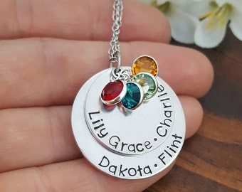 Personalized Grandmothers Necklace With Kids Names and Birthstones | Grandma Necklace | Necklace For Grandma| Gifts For Grandma or Nana