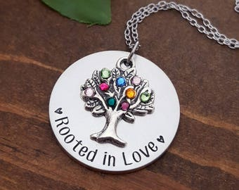 Family Tree Birthstone Necklace   Birthstone Necklace For Mom   Grandma Gifts   Birthstone Tree Necklace   Family Tree Necklace   Mom Gifts