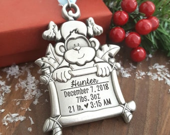New Baby Christmas Ornament | Monkey Ornament | Personalized Baby Ornament | New Baby Gift | Baby Stats Ornament | Baby's First Christmas
