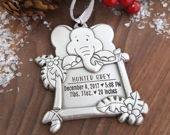 New Baby Christmas Ornament | Elephant Ornament | Personalized Baby Ornament | Baby Elephant Gift | New Baby Ornament | Baby First Christmas