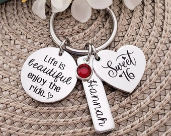 Sweet 16 Keychain | Sweet 16 Gift | Personalized Sweet 16 Keychain Birthday Gift | Sweet 16 Key Chain | Sweet 16th Birthday Gifts | Sweet 16