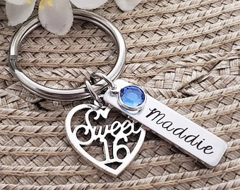 Sweet 16 Keychain | Sweet Sixteenth Birthday Gift | Personalized Sweet 16 Keychain | Sweet 16 Gifts | Sweet 16 Birthday Gifts For Daughter