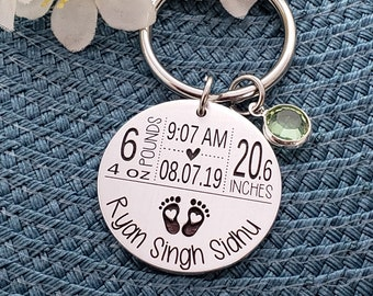 New Mom Keychain   New Mom Gift   Baby Arrival Keychain   New Baby Keychain   Baby Stats Gifts   New Mom Gift   First Time Mom Gift   KC12
