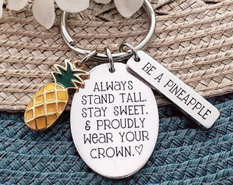pineapple keychain pineapple gift tropical gift for her custom keychain ananas birthday gift be a pineapple friend gift