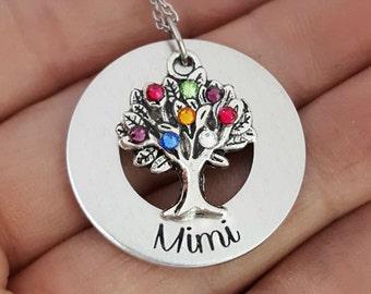 Grandmothers Birthstone Necklace | Mimi Necklace | Family Tree Birthstone Necklace For Mimi | Grandmother Necklaces | Gifts For Mimi Grandma