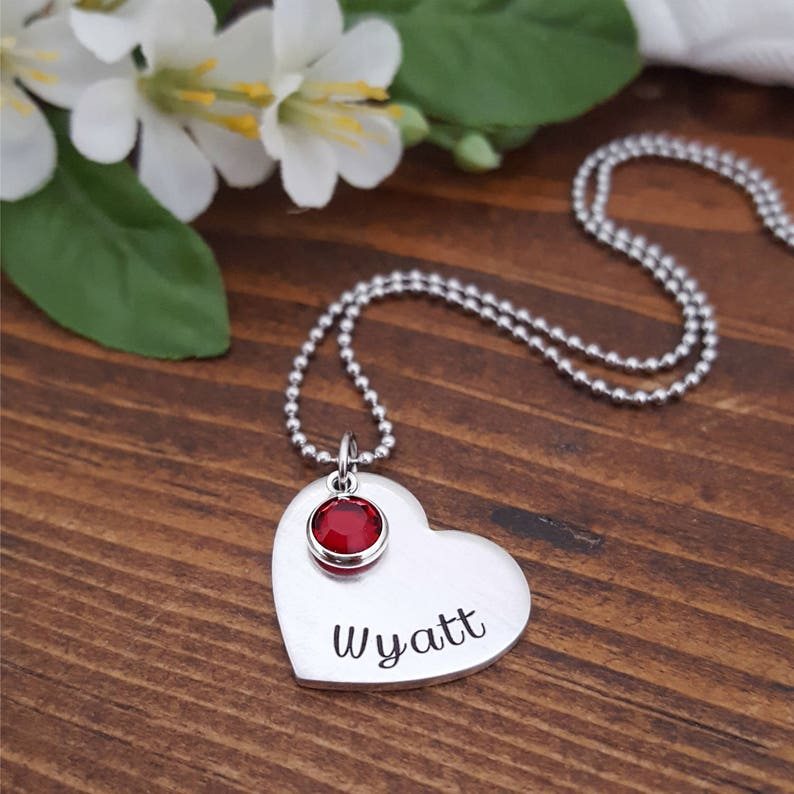 916e54deb Personalized Heart Necklace Name Necklace Heart Pendant   Etsy