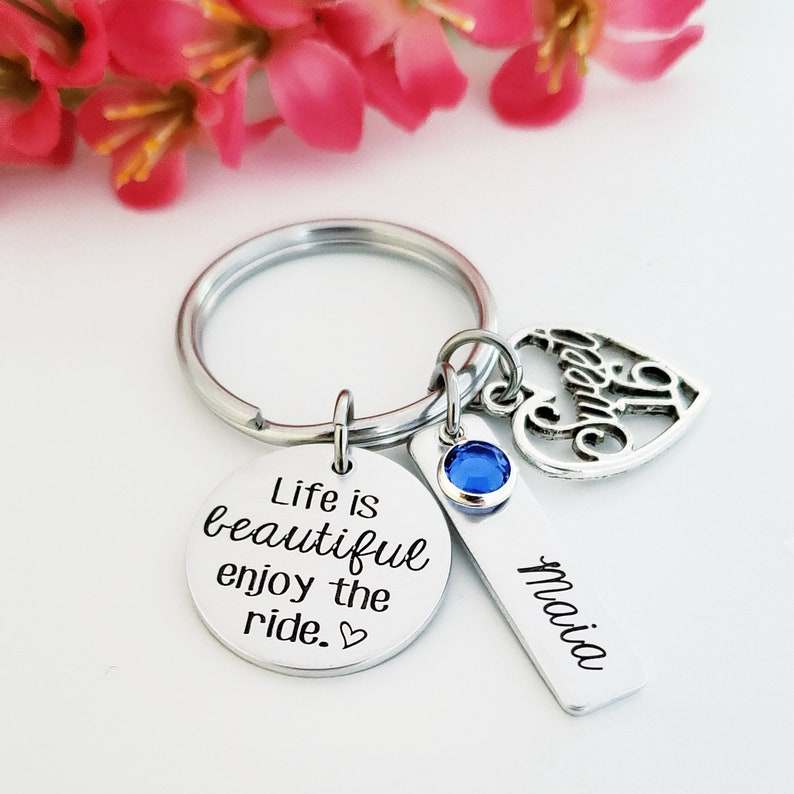 Life Is Beautiful Sweet 16 Keychain Birthday Gifts