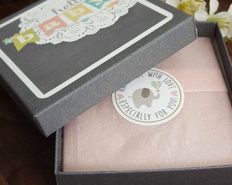 New Baby Gift Box Add-on | Gift Wrap My Item| Grey Box with Pink Blue Cream Tissue Paper | New Mom Gift Wrap | New Arrival Gift Wrap - BB1