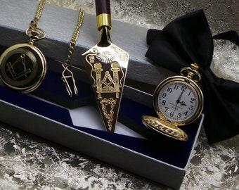 Masonic Trowel and Personalised Pocket Watch Letter Opener Freemasons 24k Gold Clad Engraved Luxury Gift Set Freemasons Engraved Lodge Name