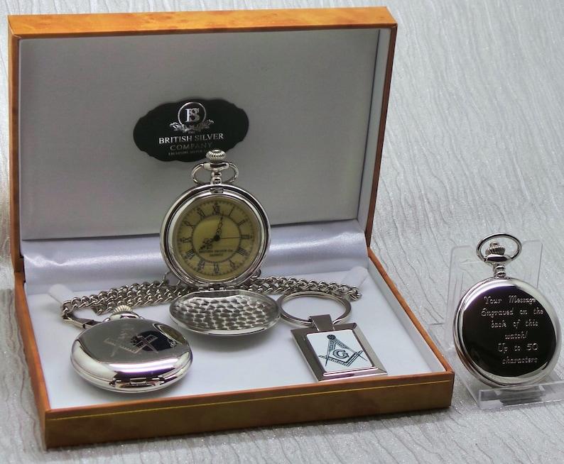 Freemason Engraved Personalised Masonic Pocket Watch and Keyring Luxury  Gift Set Case Certificate Any Lodge Custom Engraved Free of Charge