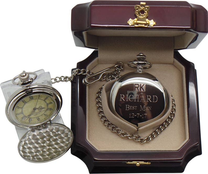 1973120d56c44 Custom Engraving Wedding Watches Silver Pocket Watch Luxury