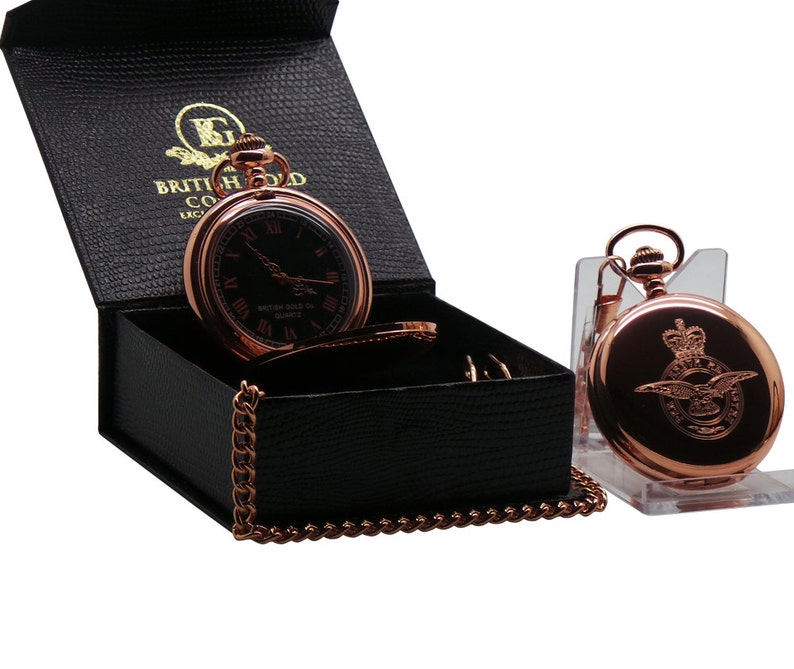 RAF Rose Gold Pocket Watch in Luxury Gift Case Crested Badge Engraved Crest  Royal Air Force in Full Hunter Case Watch Box Military Emblem