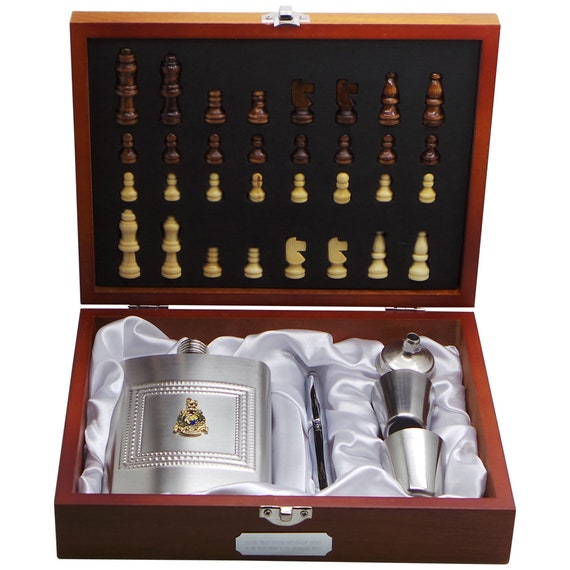 Personalised ROYAL MARINES Hip Flask Chess Set Pen Shot Glasses Wooden Case