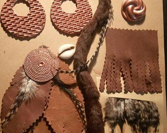 12 items customisations application leather feathers Cabochons