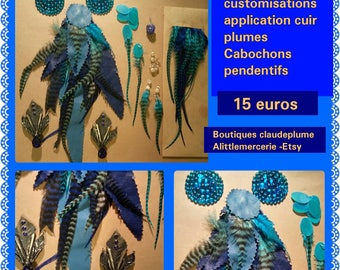 Set of 12 items customisations application leather feathers Cabochons