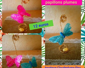 6 feather butterfly table decorations