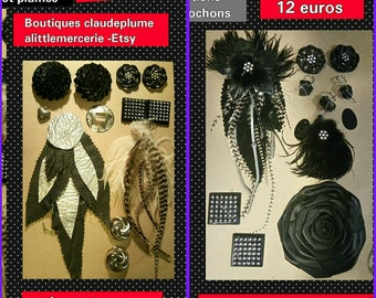 1 lot of 24 articles applications leather feathers Cabochons