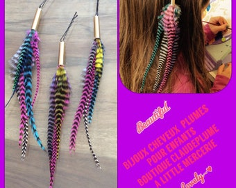 3 jewelry hair feathers for children