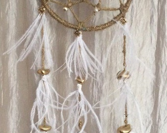 Worn dream catcher - feather photo white and gold