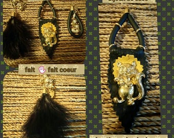 3 jewelry bags leather feathers