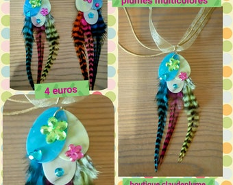 2 pendants sequins multicolored feathers