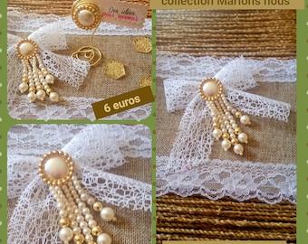 6 noeuds ruban blanc & cabochons perles