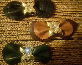 3 bows leather & rhinestone Butterfly
