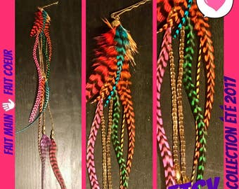 PIN hair jewelry & feathers multicolored