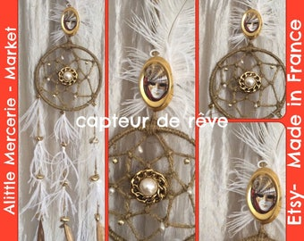 Dream catcher put pics, white and gold feathers