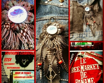 Pendant leather feathers country girl