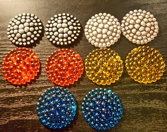 Set of 10 multicolored granules resin cabochons