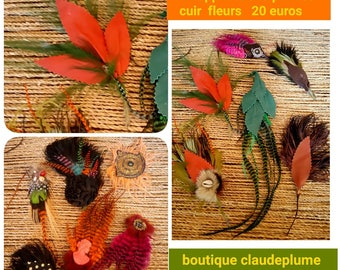Fine Studio set 12 feathers leather flowers applications