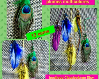 5 pendants beads multicolored feathers