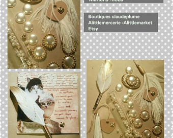 Assortment of 24 customisations feathers, pearls wedding items