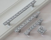 2.5 quot 3.75 quot 5 quot Acrylic Drawer Pull Handle Knob Cabinet Pulls Chrome Silver Door Handles Crystal Look Dresser Pulls Knobs Handle 64 96 128 mm
