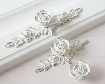 flower dresser handles back plate drawer knobs pulls handles creamy white silver rose knob shabby chic kitchen cabinet knobs handles - Kitchen Knob And Handles