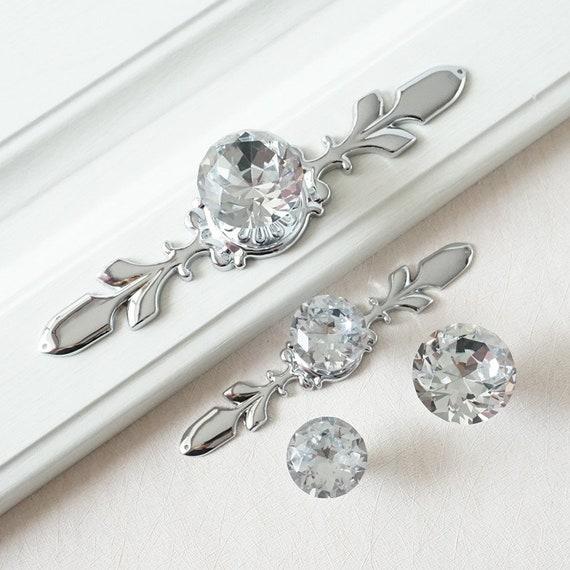 Drawer Knobs Handles / Glass Dresser Knob Crystal Silver | Etsy