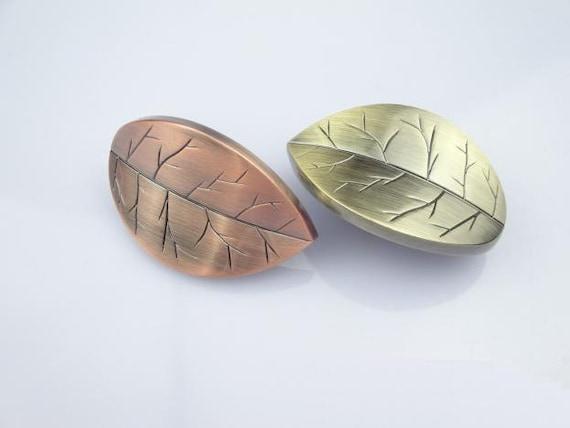 Unique Leaf Dresser Knobs Drawer Handles Bronze Rustic Country Cabinet Pulls