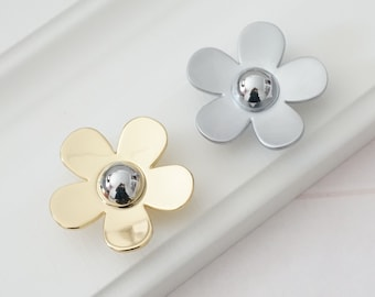 Flower Knobs Dresser Pull Knobs Drawer Knob Pulls Handles Silver Gold two Colors Kitchen Cabinet Door Pulls Knobs Pull Handle