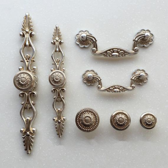 French Shabby Chic Dresser Drawer Pulls, Antique Silver Kitchen Cabinet Pulls