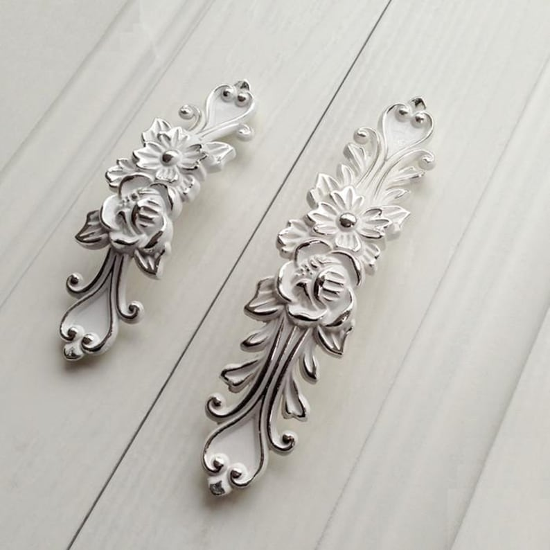 Strange Shabby Chic Dresser Drawer Pulls Handles Off White Silver French Country Kitchen Cabinet Handle Pull Antique Furniture Hardware Home Interior And Landscaping Ponolsignezvosmurscom