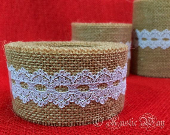 5M Natural Jute Hessian Burlap Xmas Ribbon Edge Lace Trim Crafts Rustic Wedding