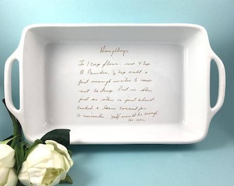 Loaf Pan / Small Casserole Baking Dish Customized with Handwritten Recipe