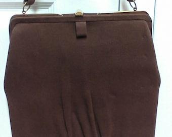 Vintage Brown Velvet Graceline Master Purse Neutral Brown Handbag